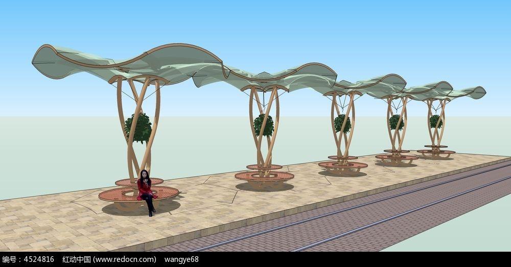 张拉膜d模型_造型新颖的张拉膜SU景观设计精品模型
