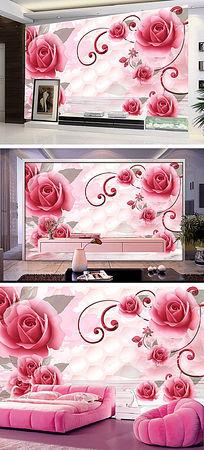 粉红玫瑰时尚雅致浪漫3D背景墙