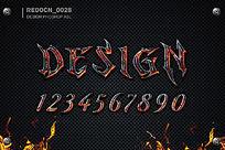 红色魔鬼质感字体ps样式设计