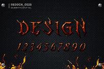 红色魔鬼质感字体样式