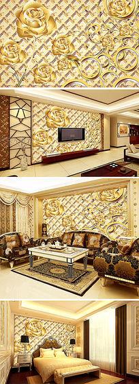 金色玫瑰装饰电视背景墙