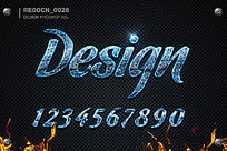 蓝色玻璃质感字体样式下载