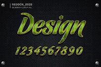 绿色质感字体样式
