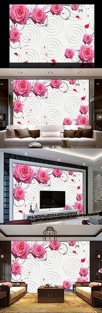 玫瑰花花藤现代背景墙
