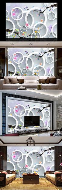 梅花3D立体背景墙