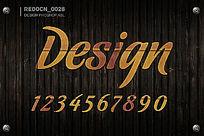木纹质感字体ps样式