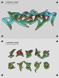 涂鸦字体样式 PSD
