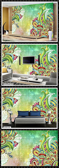 现代艺术装饰花纹电视背景墙