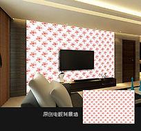 可爱粉色花朵卧室背景墙