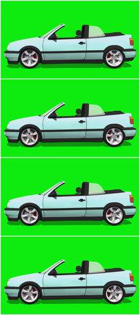 绿屏抠像白色跑车视频素材