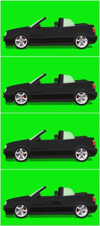 绿屏抠像黑色跑车视频素材