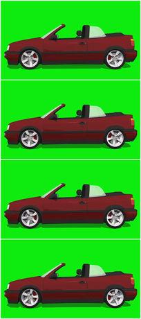 绿屏抠像红色跑车视频素材