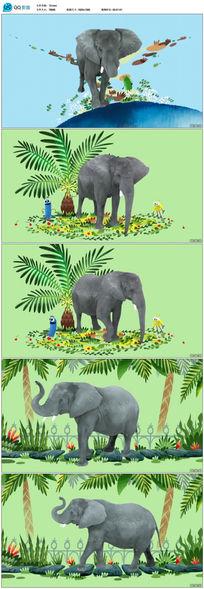 卡通娱乐大象视频素材