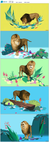 卡通娱乐狮子草原视频素材