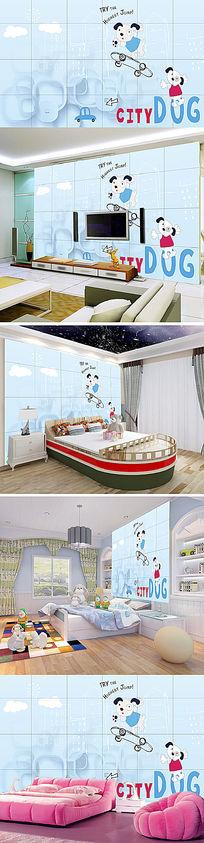 皮皮狗可爱卡通3D卧室背景墙