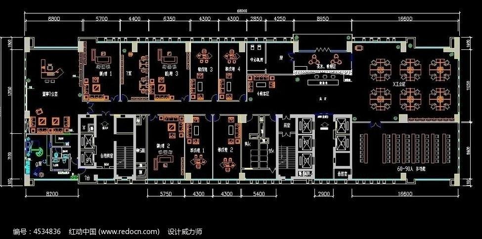 小型公司装修cad设计图,编号是4534836,文件格式是dwg,请使用autocad图片