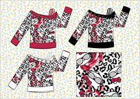 豹纹满印图案女装T恤  服饰款式手稿矢量