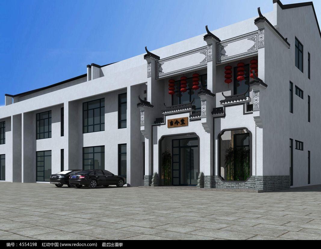 楼房3d中式外观模型素材图片
