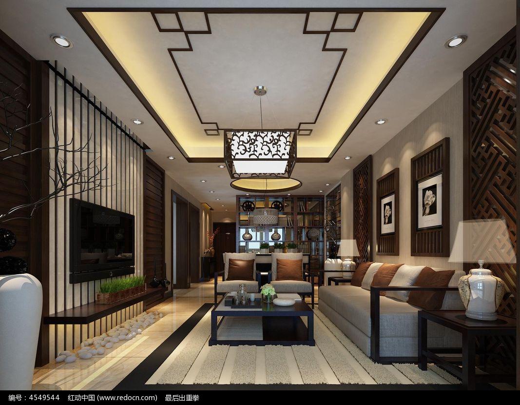 暖色调中式客厅3dmax模型素材图片