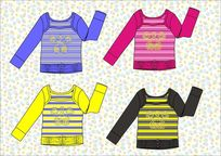 女童款式矢量手稿 条纹t恤设计