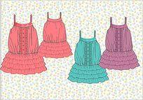 女装设计手稿 服装款式效果图 服装设计 服装手稿图