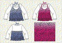 cdr格式女装款式手稿设计  可爱假二件T恤