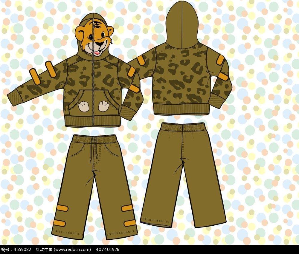韩版针织童装卫衣设计手稿模板下载