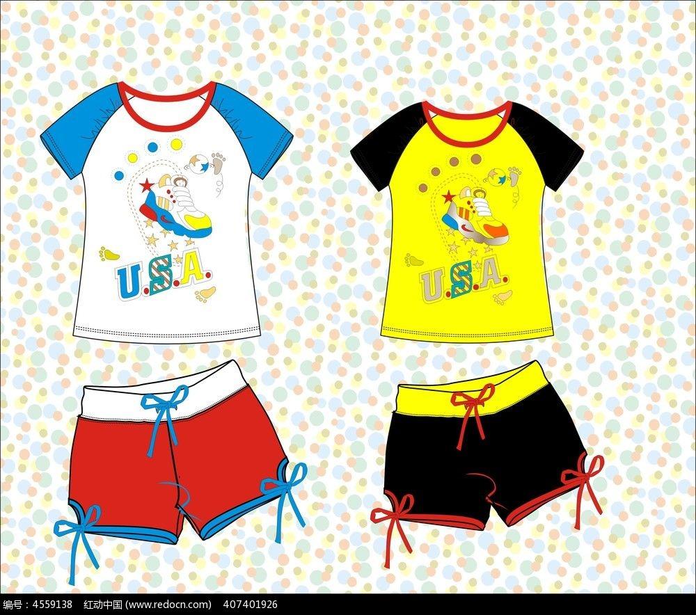 可爱卡通t恤 家居服 针织短裤设计款式图