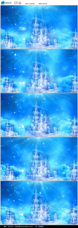 浪漫水晶城堡冰雪奇缘雪花led背景视频素材