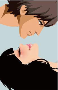 情侣亲吻插画设计