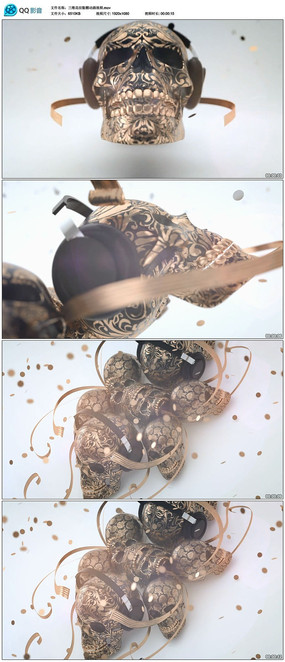 三维花纹骷髅动画视频