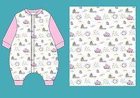 婴童睡袋款式矢量手稿 童装图案 婴儿连体衣