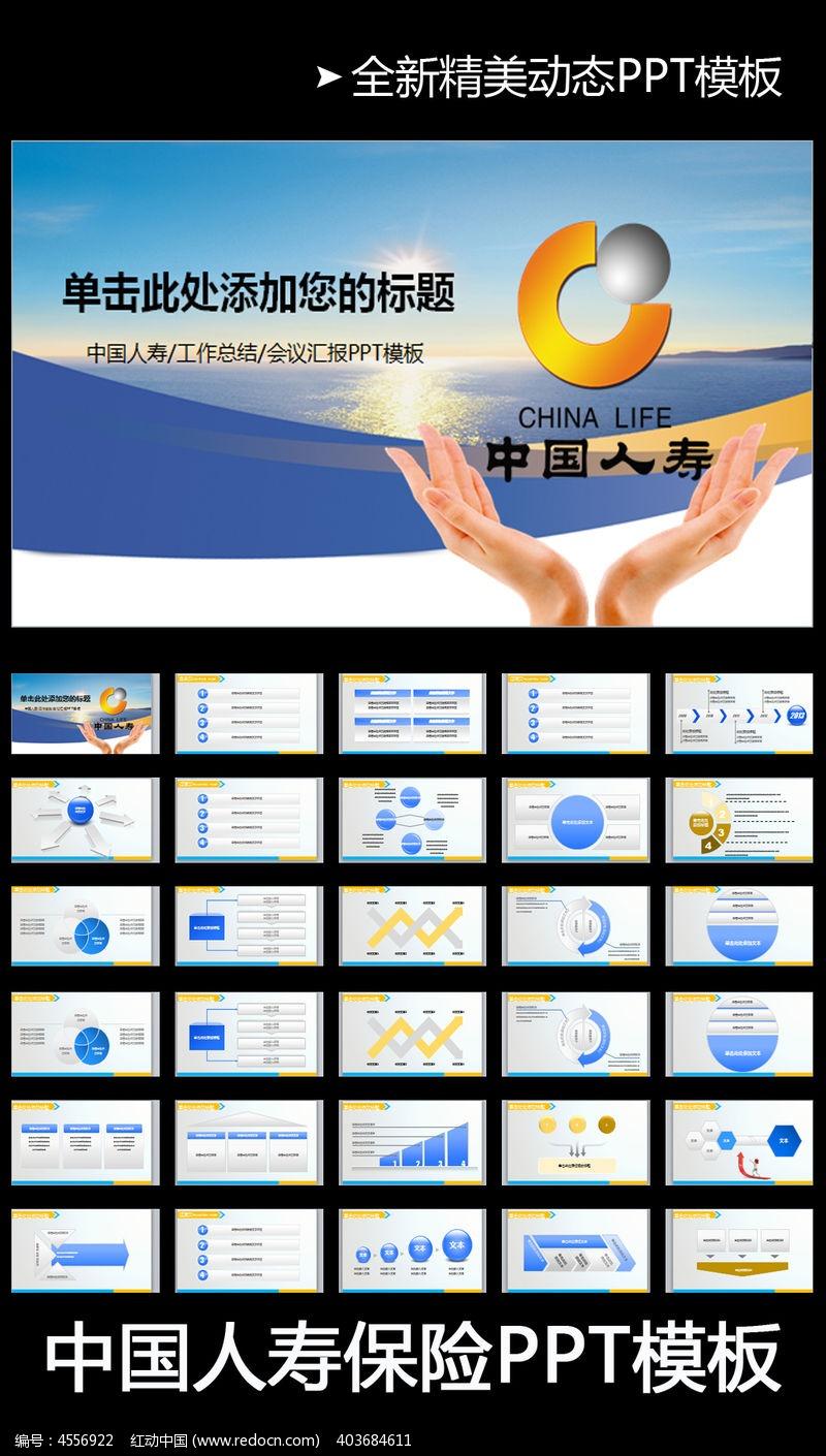 意外保险 中国人寿保险公司 PPT 模板 图表 动态PPT 会议 报告 座谈
