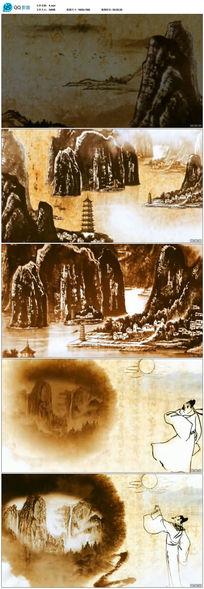 中国水墨画视频素材