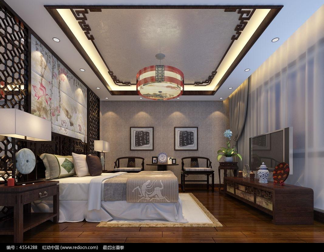 中式风格卧室3d模型素材3dmax素材下载_室内装修设计图片