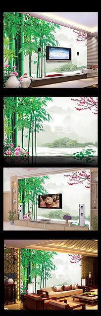 竹子桃花牡丹电视背景墙