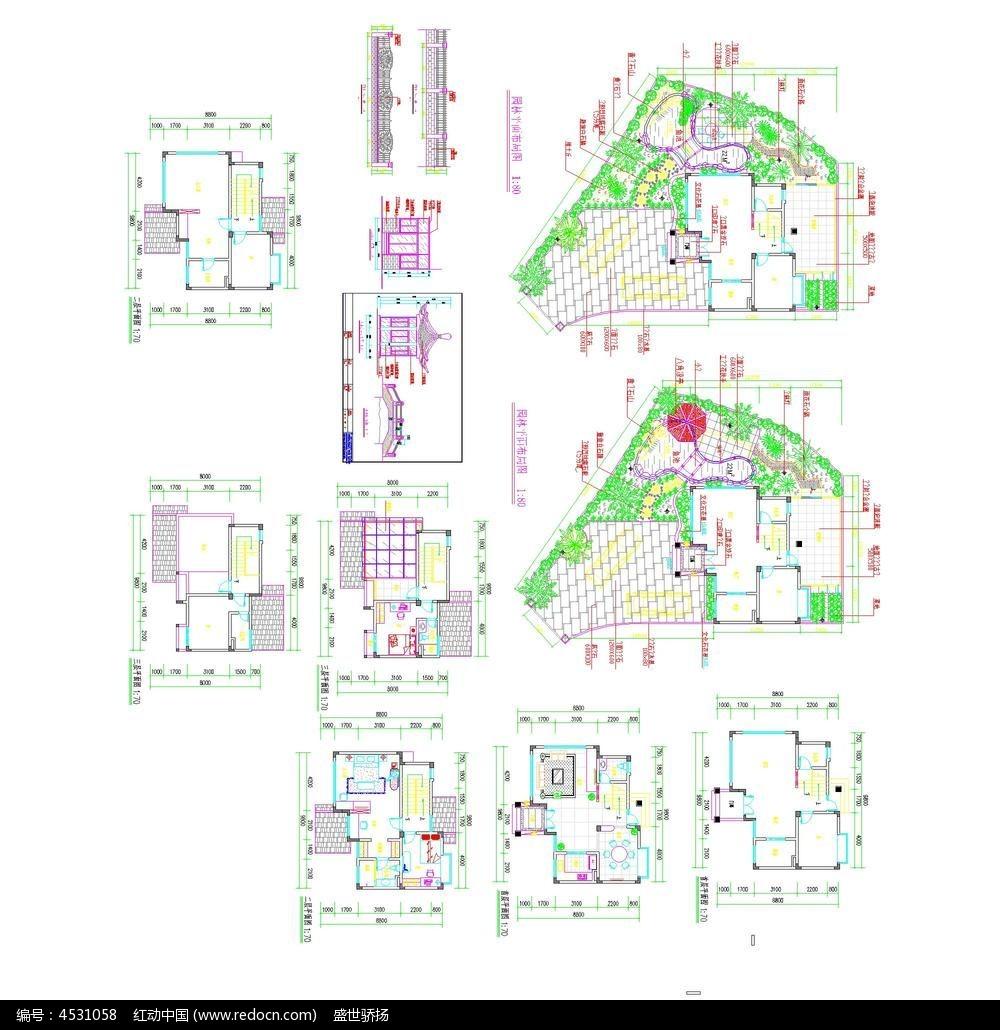 别墅景观cad平面图设计_红动网