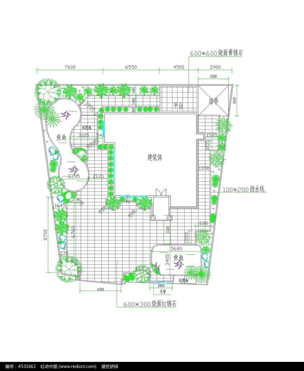 CAD施工图 别墅CAD图纸 环境绿化平面图 小花园CAD图纸 别墅景