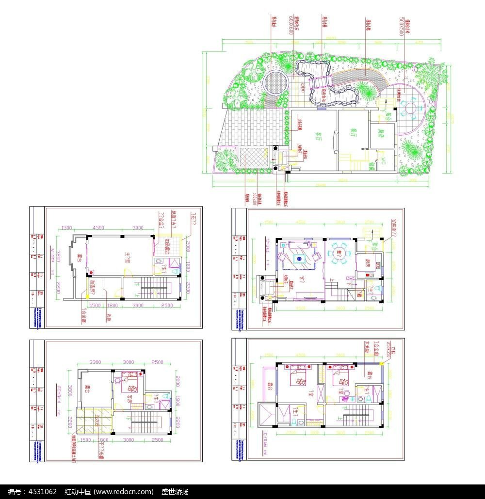 别墅装修cad平面施工图dwg设计下载