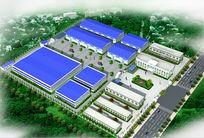 工厂厂房整体3d模型鸟瞰图