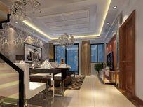 简欧风格餐厅客厅3d模型