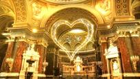 漂浮的爱心之教堂婚礼视频素材