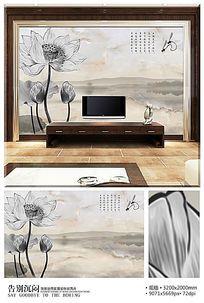 水墨中国风荷韵大理石电视背景墙