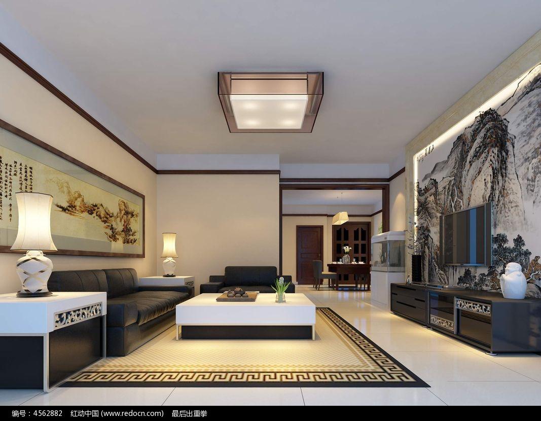 原创设计稿 3d模型库 室内装修 中式风格客厅装修3d模型图片