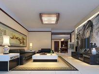 中式风格客厅装修3d模型