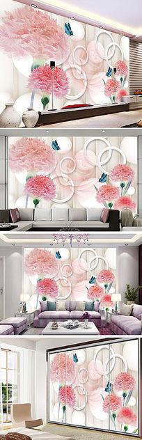 3D粉色花卉电视背景墙