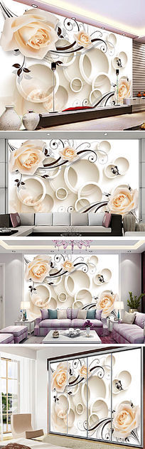 3D圆圈玫瑰电视背景墙