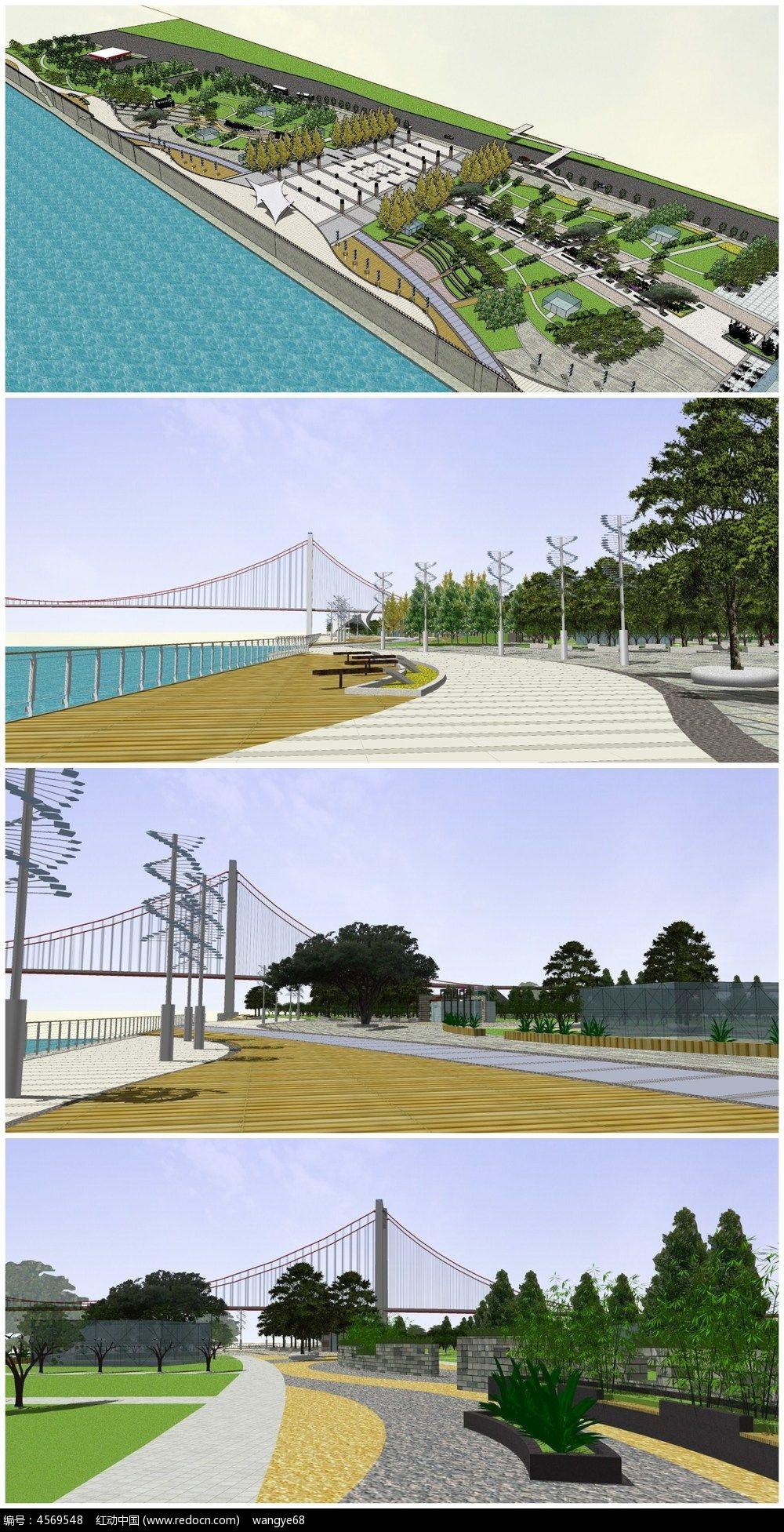 滨江广场公园景观SU模型图片