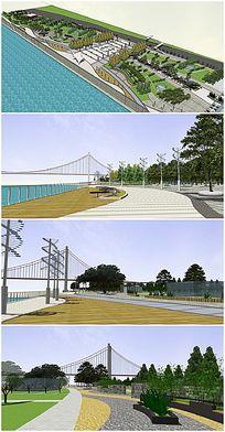 滨江广场公园景观SU模型