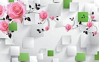 粉色花朵立体3D电视背景墙